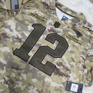 XXL Patriots Jersey Camo Military Brady 12 NWT NFL